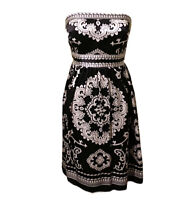 White House Black Market Womens Dress 4 Black Silk Strapless A-Line  A97-03P