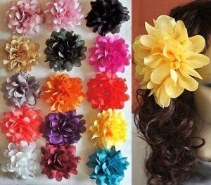 Haarblume XL EXOTIC 15 Farben Haarblüte Ansteckblume Stoffblume Haarspange XXL