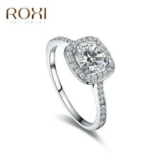 ROXI 18K White Gold Plated Elegant Platinum Round Square Diamond Wedding Ring