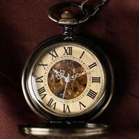 Vintage Steampunk Men's Retro Auto Mechanical Skeleton Pocket Watch Pendant Gift