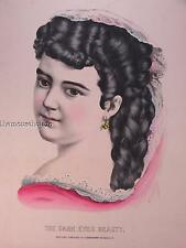 "rare Currier & Ives full color portrait print ""The Dark Eyed Beauty"" girl  woman"