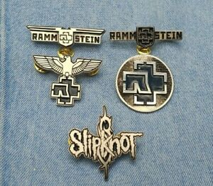 Rammstein Slipknot logo pin badge industrial metal korn