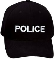 Black Embroidered Police Adjustable Cap