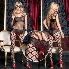 Open Crotch Bodystocking Lace Bralette Bodice Diamond Net Pantyhose Bodysuit