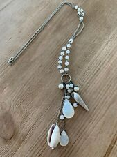 Silver Sea Shell & Bead Statement Pendant Necklace Approx 47cm Long