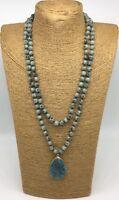 Fashion semi precious long knot leopard skin stone Natural Pendant Necklace