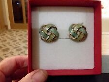 Vintage blue green round twist style clip-on earrings and  gift box