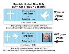 Baptism or Christening Decoration Banner, Baby Boys, Boy Blue, Dove, Cross.