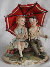 Rori Capodimonte Italy HP Figurine Girl & Boy on Log under Umbrella - Signed