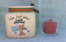 Warm and Fuzzy Wishes Christmas Tealight Votive Candle and Holder
