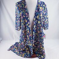LuLaRoe Shirley Kimono Blue Geometric Design Chiffon Lightweight Cover Small