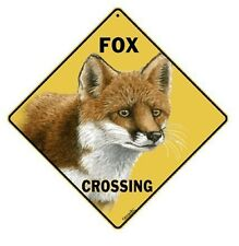 """FOX CROSSING Sign, 12"""" by 12"""" on sides-16"""" on Diagonal-In/Out-Aluminum"""