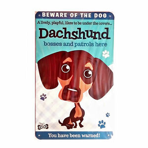 """Wags & Whiskers  Dog Sign/Plaque """"Dachshund"""" - Tin Plaque"""