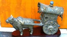 ANTIQUE 19c CHINESE SILVER&GILT WEDDING OX CARTDECORATED W/DRAGONS,BATS,FU-LIONS