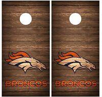 Denver Broncos Vintage Wood Cornhole Board Decal Wrap Wraps (brown)