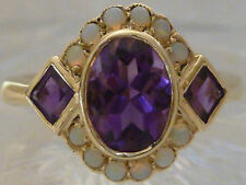 Vintage Insp. 9ct SOLID GOLD 2.94 CARAT NATURAL Amethyst & Opal Ring R2