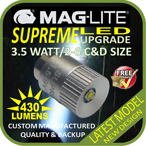 MAGLITE UPGRADE LED 2-6CD CREE 3.5W BULB GLOBE for TORCH FLASHLIGHT 1.5-9V 430LM