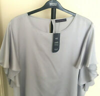 M&S Curve Size 26 Soft Drapey Frilled Sleeve Blouse Top Bnwt £29.50 Silver Grey