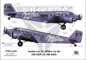 """[ FFSMC Productions] Decals 1/48 Junkers Ju-52 """" Ju - Air Milka"""