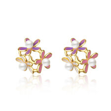 Flower Stud Earrings Yellow Gold Color New Elegant 925 Sterling Silver Paerl