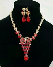 Red & Gold necklace Set wedding and party wear, Uk seller