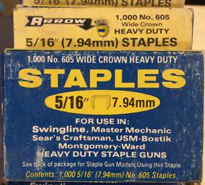 "Genuine Arrow Heavy Duty Staples  5/16"" 1,000 Box #605"