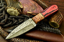 Custom Handmade Damascus Skinning Blade Hunter Camping Full Tang Dagger Knife