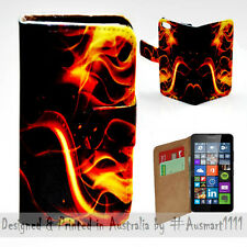 Wallet Phone Case Flip Cover for Microsoft Nokia Lumia 640 - Fire Flame Vector