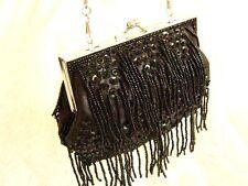 Black Satin Sequin Bead Tassel Fringed clutch bag purse handbag Victorian Deco