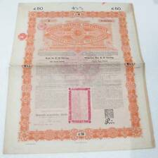 China Chinese Imperial Government Gold Loan £50 Bond 1898 Uncancel + Coupons