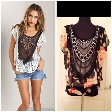 NWT Jen's Pirate Booty Moroccan Top Blouse in Black Floral  Size S, M  Was $121