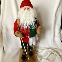 """Old World Limited Edition Father Christmas 18"""" Santa Claus Figurine With Skis"""
