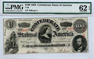 1863   $100   Confederarte  Currency  T-56    PMG 62 EPQ
