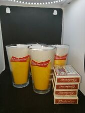 Budweiser Glass And Deck Of Cards.