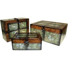 Set of 3 Large Victorian Style Wooden Boxes - Keepsake Trinket Momento Box