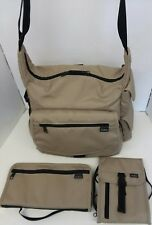 SET 3 LL BEAN CANVAS~SHOULDER MESSENGER/GYM BAG~ORGANIZER~WALLET~TRAVEL~CARRY-ON