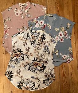 3 Floral Tops Tunics Blouses Cap Sleeve Mandarin Collar Shein L Pink White Blue