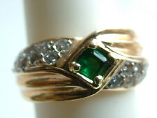 lovely Emerald & Diamond Ring .85 ctw 14k solid yellow Gold $2950
