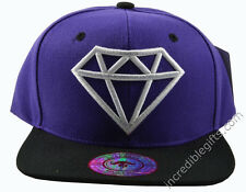 Diamond Purple Hat Black Brim White Embroidered Snapback Hat Adjustable Strap