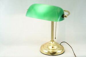 "Bankers Desk Lamp Light Green Shade Brass Stand w/ Patina Electric 13"" Tall"