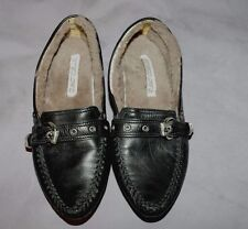 Gianmarco Lorenzi Black Leather Fur Lining Women Flat Shoes Size:5