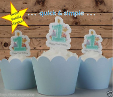 baby boy first 1st birthday candle edible wafer cupcake cake toppers pink