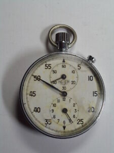 Vintage 1960's Heuer 2 Register Single Button Stopwatch      RS