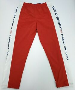 Ralph Lauren Polo Sport Men's L Freestyle Nylon Mesh Lined Track Pants Red NWT