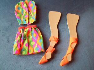 Vintage 1968 Barbie # 1856 Wild n Wonderful Mod Outfit Mini Skirt Top Sandals