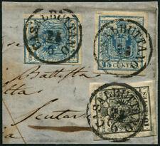 LOMBARDO VENETO - FRAMMENTO - 10 C. nero + 45 C. azzurro, due esemplari 10/4