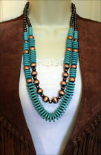 Southwest Turquoise Navajo Copper Pearl Beads Necklace Two Strand Layered Boho