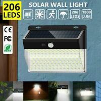 206 LED Outdoor Solar Power Wall Lamp Motion Sensor Flood Light Garden H8R7