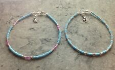 """Charm Turquoise Pink Silver Bead Anklets 14"""" 2 Dainty Moon & Star & Star"""