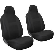 Car Seat Cover Black 2pc Set Bucket for Auto w/Integrated Head Rest Flat Cloth